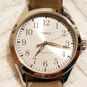 Vintage Timex Silver Tone Watch Leather Strap